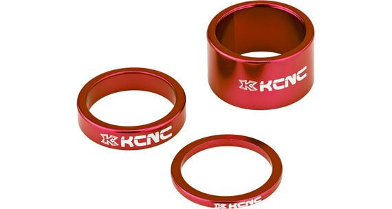 """KCNC Headset Spacer 1 1/8"""" 3/8/20mm rød"""